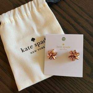 Kate Spade Rose Gold Bow Earrings NEW